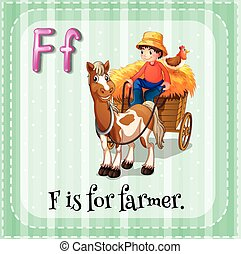 Farmer - Flashcard letter F is for farmer