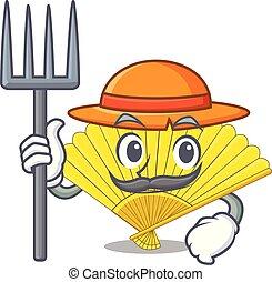 Farmer folding cartoon fan in the bag