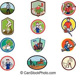Farmer Gardener Cartoon Mascot Collection Set - Set or ...