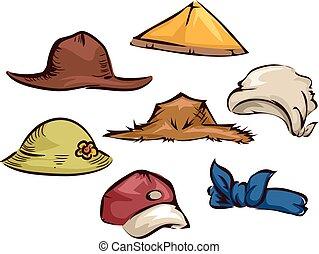 Farmer Gardener Hats Elements Illustration