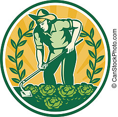 Illustration of a farmer gardener with garden hoe working cabbage patch and vine done in retro style set inside circle,