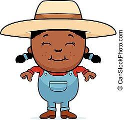 Black farmer girl. African american gardening female child ...