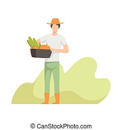 Farmer harvesting, people working in the garden, worker growing agricultural products vector Illustration