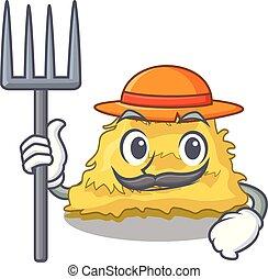 Farmer hay bale character cartoon vector illustration