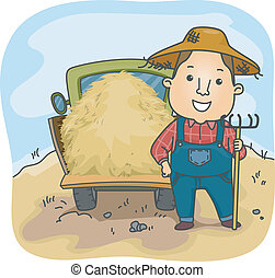 Farmer Hay Truck - Illustration of a Farmer Standing Beside...