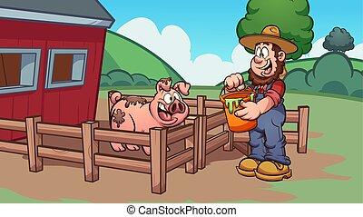 farmer, het voeden, varken
