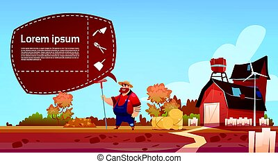 Farmer Hold Rake Work On Field Cartoon Character Country Man Near Farm Building Eco Farming Concept