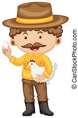 Farmer holding chicken and egg