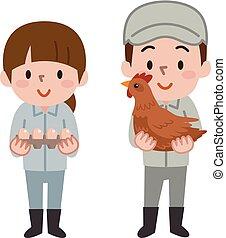 farmer holding eggs and hen