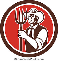 Illustration of a farmer holding a pitchfork facing front set inside circle done in retro style
