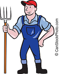 Illustration of organic farmer holding pitchfork facing front standing on isolated background done in cartoon style.