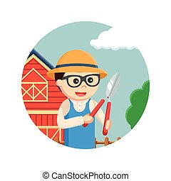 farmer holding pruning scissor in circle background