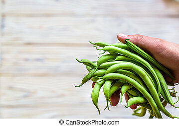 Farmer holds in his hand fresh french beans