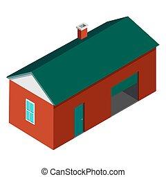 Farmer House Building Isolated on White Background - Farmer...
