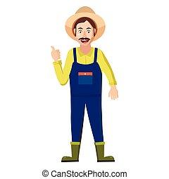 Farmer icon in cartoon style