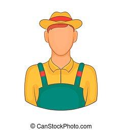 farmer, ikon, alatt, karikatúra, mód