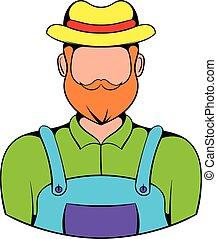 farmer, ikon, karikatúra