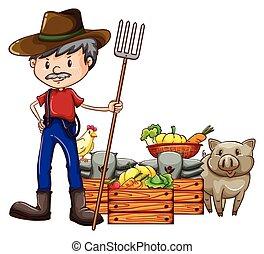 Illustration of a close up farmer