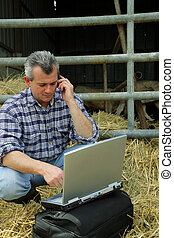 Farmer in a barn with his laptop
