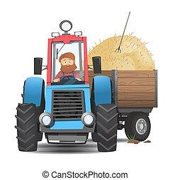 Farmer in a tractor.