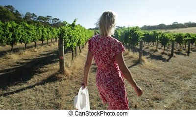 Farmer in Australian Vineyard - Australian vineyard....