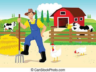 Cartoon illustration of a farmer on his ranch