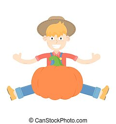 Farmer in hat dressed in a blue jumpsuit sitting near the pumpkins