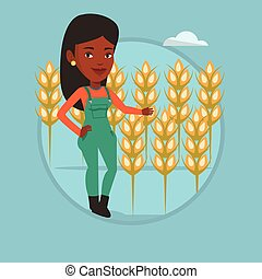 Farmer in wheat field vector illustration. -...