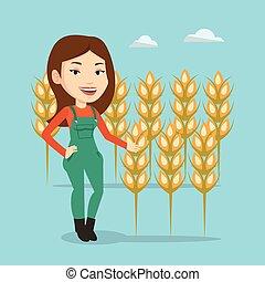 Farmer in wheat field vector illustration. - Female...