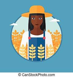 Farmer in wheat field vector illustration. - An...