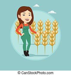 Farmer in wheat field vector illustration. - Caucasian...