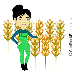 Farmer in wheat field vector illustration. - Excited asian...