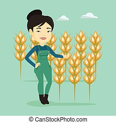 Farmer in wheat field vector illustration. - Female asian...