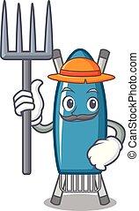 Farmer iron board character cartoon vector illustration