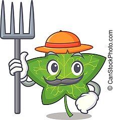 Farmer ivy leaf isolated on character cartoon