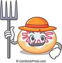 Farmer jelly donut character cartoon vector illustration