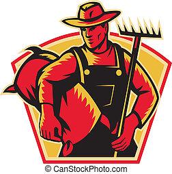 farmer, landbouwarbeider, met, rak