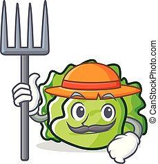 Farmer lettuce character cartoon style