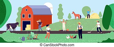 Farmer life. Agricultural workers work with equipment in nature, agriculture and organic farming flat vector illustration