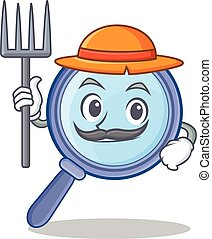 Farmer magnifying glass character cartoon