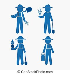 Farmer man and tool illustration