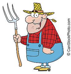 Farmer Man Carrying A Rake