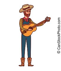 farmer man with musical instrument