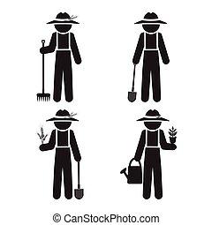 Farmer man with tool, set vector illustration
