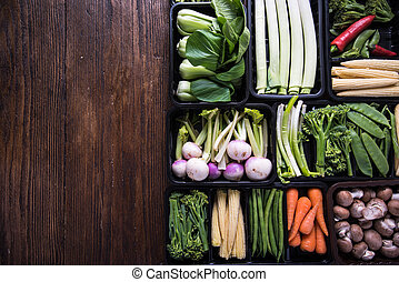 Farmer market fresh vegetables, food background