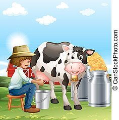 Farmer milking a cow at daytime