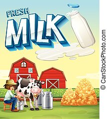 Farmer milking the cow in the farm