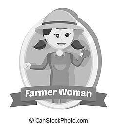 farmer, nő, alatt, embléma