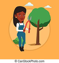 farmer, noha, pruner, alatt, kert, vektor, illustration.