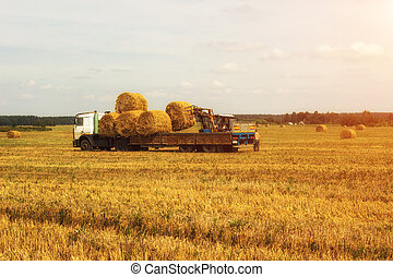 Farmer on a tractor picks haystack and loads bale of hay...